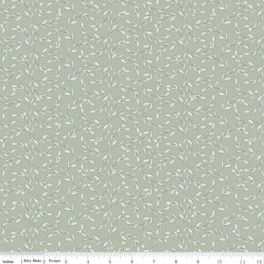 Gingham Farm Vines Sage Fabric