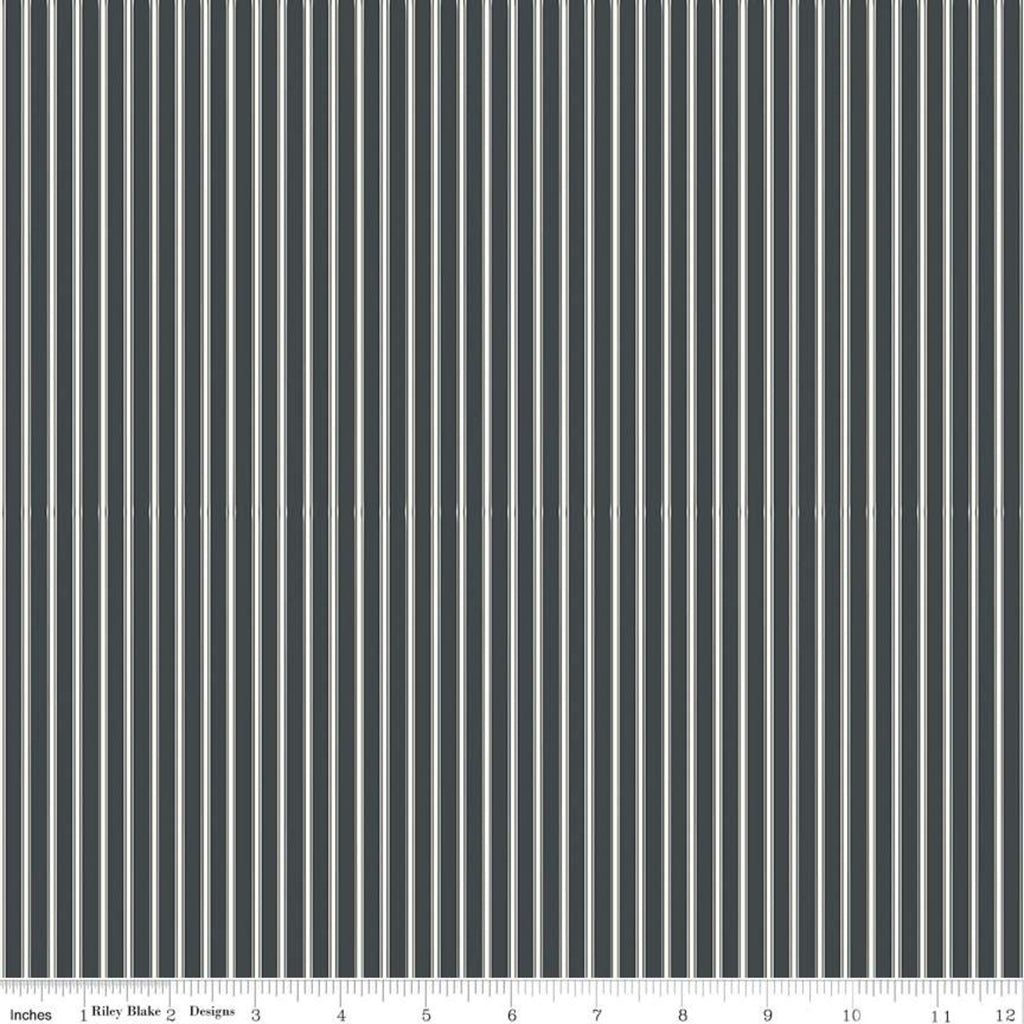 Gingham Farm Stripes Charcoal Fabric