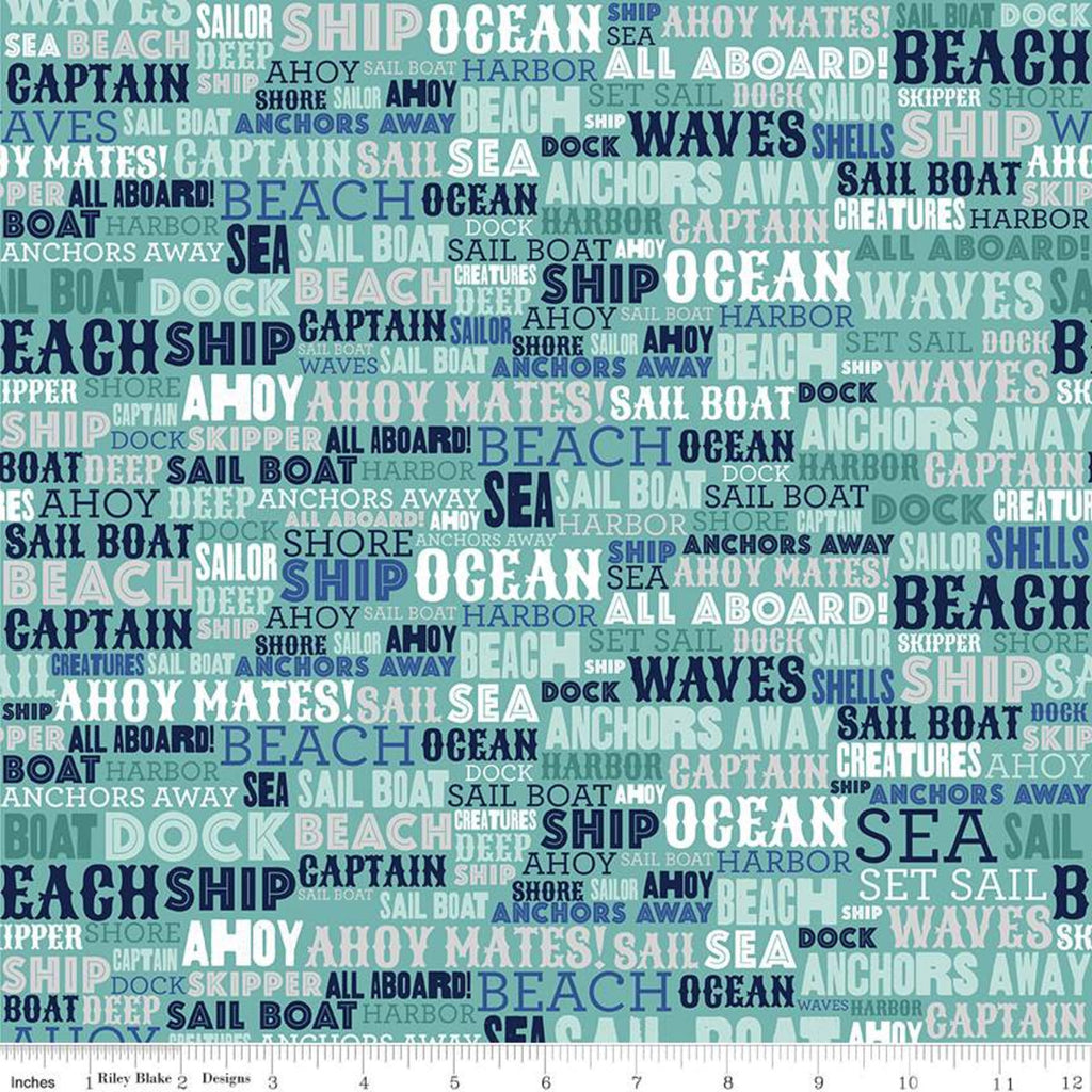 Riley Blake Deep Blue Sea Text Teal Fabric