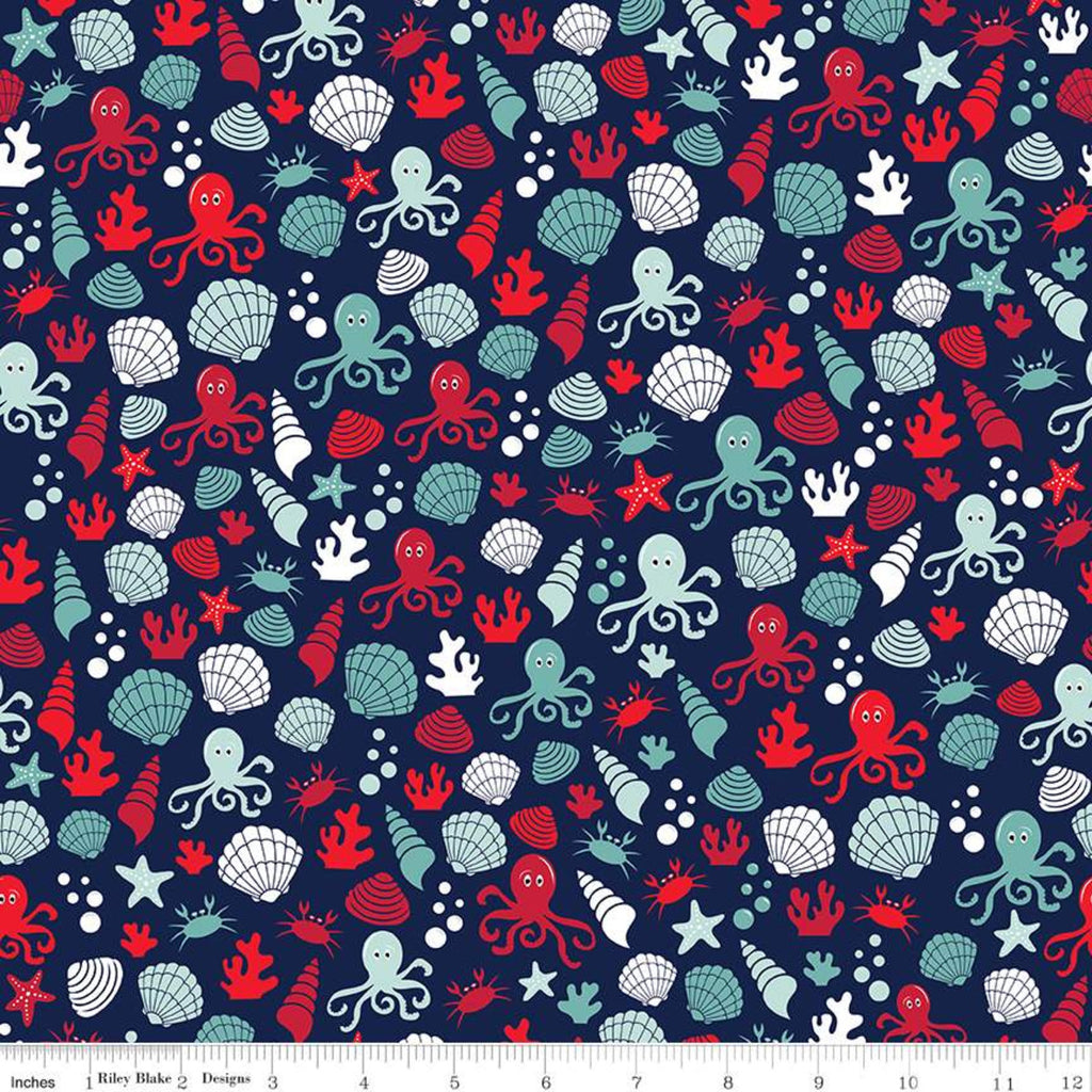 Riley Blake Deep Blue Sea Shells Navy Fabric