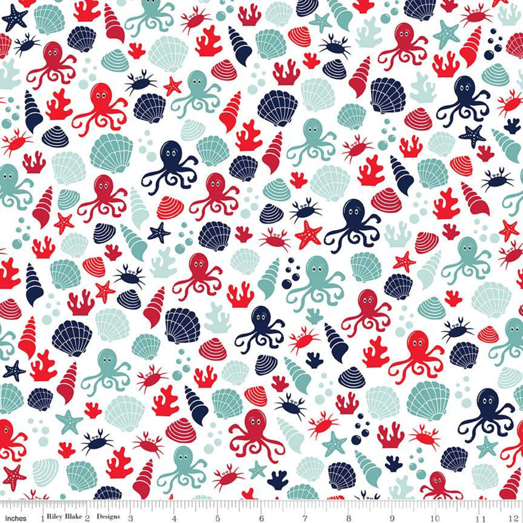 Riley Blake Deep Blue Sea Shells White Fabric