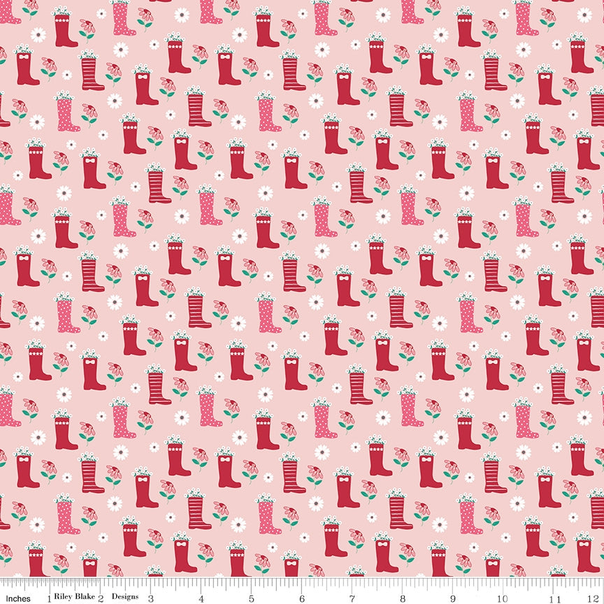 Singing In The Rain Rain Boots Babypink Fabric