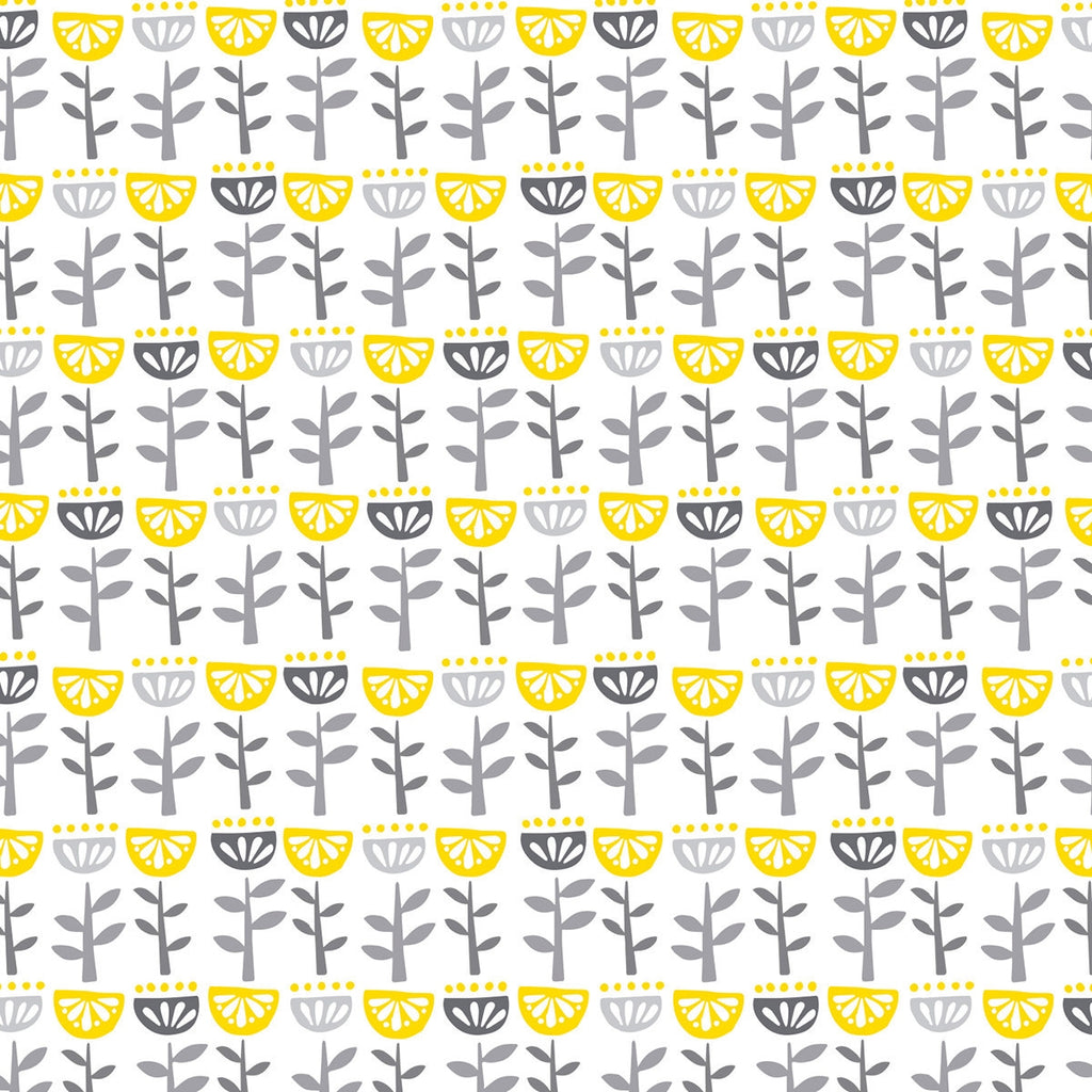 Village Life Flowers Gray Fabric