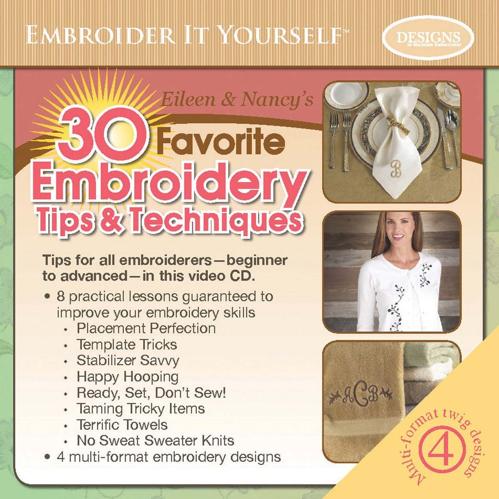 Eileen and Nancy's 30 Favorite Embroidery Tips and Techniques CD