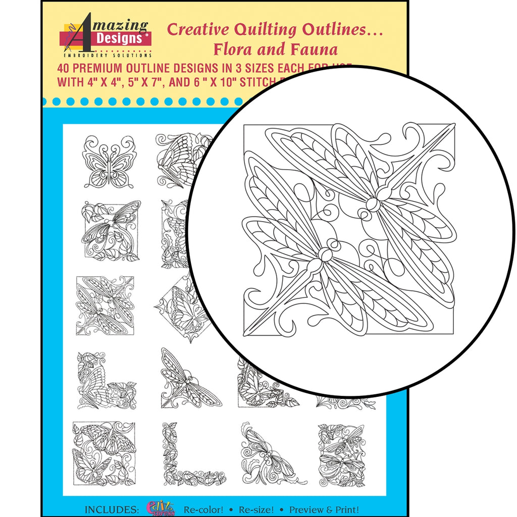 Creative Quilting Outlines...Flora and Fauna Embroidery Designs