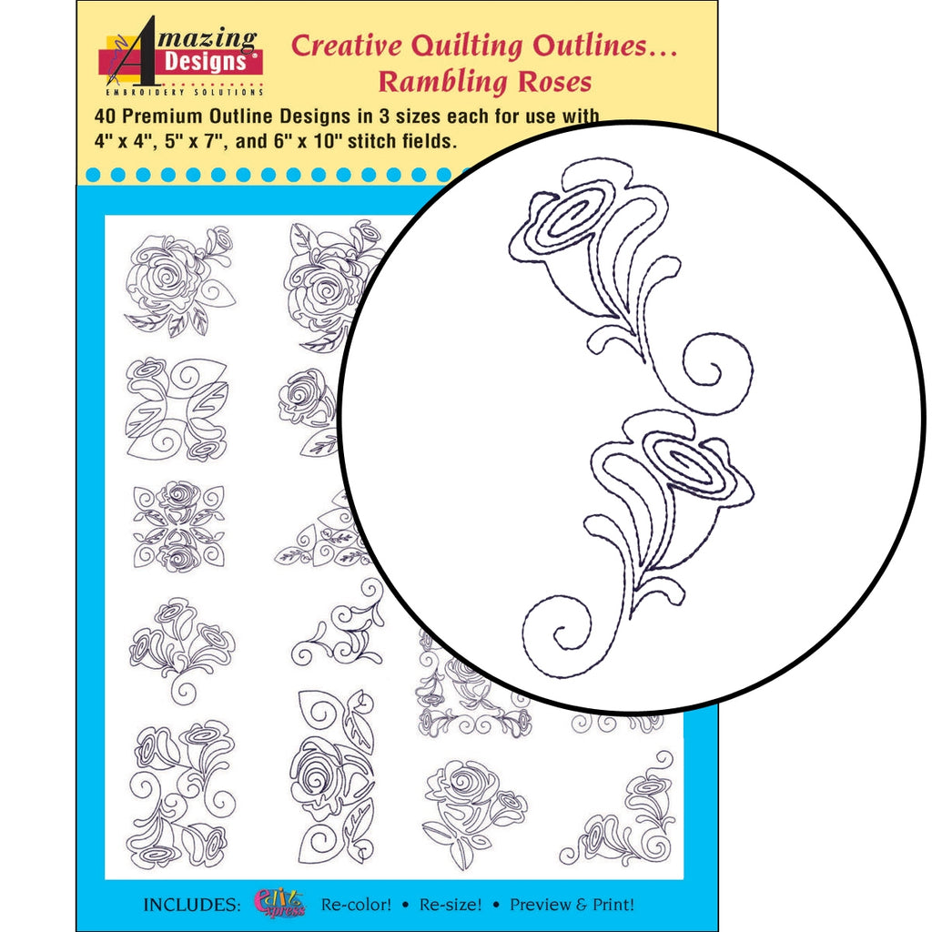 Creative Quilting Outlines...Rambling Roses