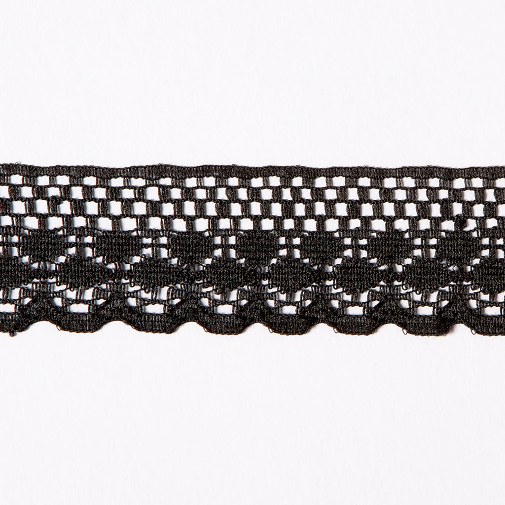 1-1/4 IN Flat Black Raschel Lace
