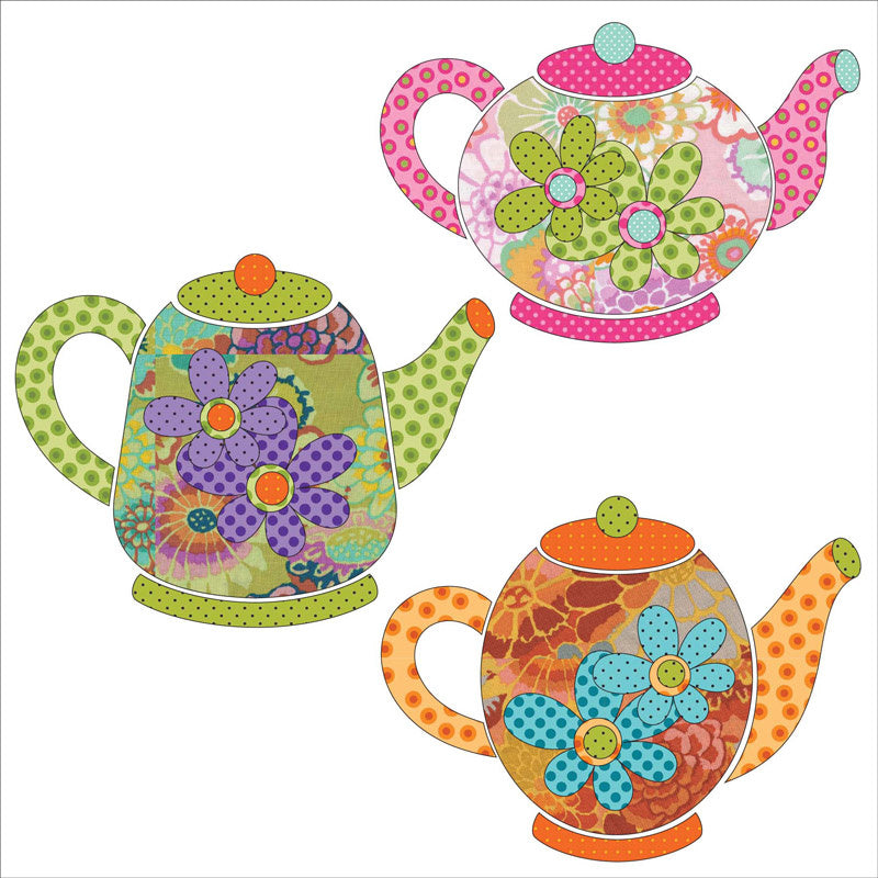 Tea Party Tea Pots Fusible Appliqué Shapes