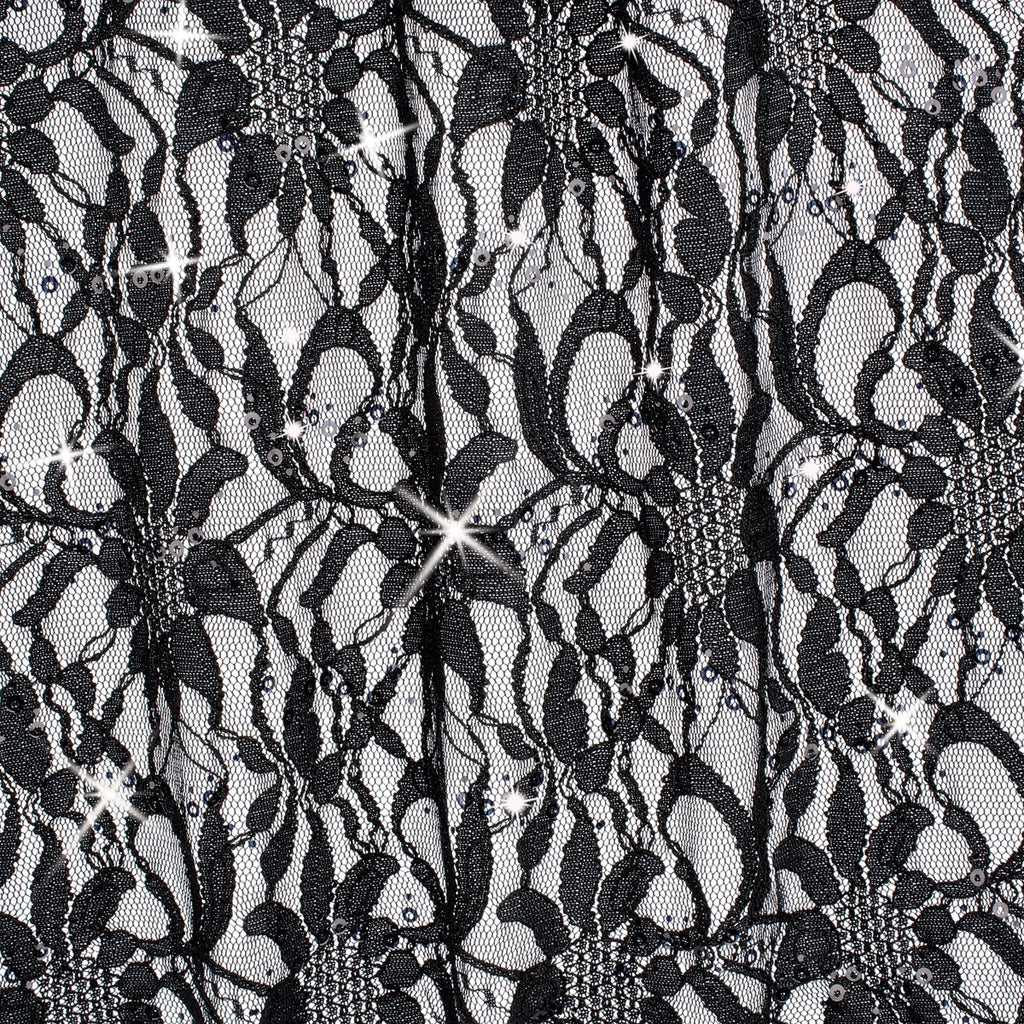 Black Sequin Lace Knit Fabric