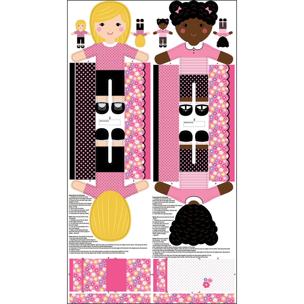 Girls Pink Doll Fabric Panel