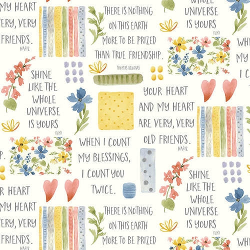 Blessings Flowers and Sayings Fabric