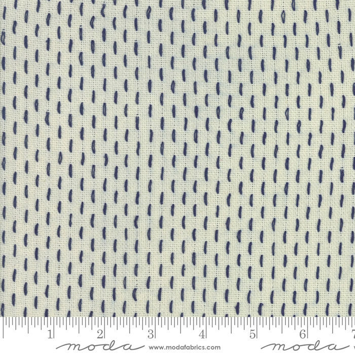 French Sashiko Pearl Indigo Fabric