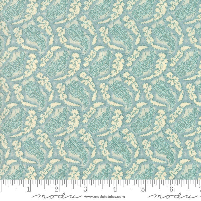 Sarah's Story Fallen Leaves Sky Blue Fabric