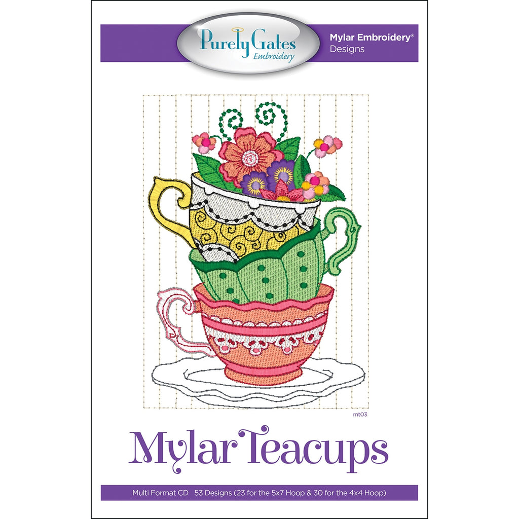 Mylar Teacups Embroidery Designs