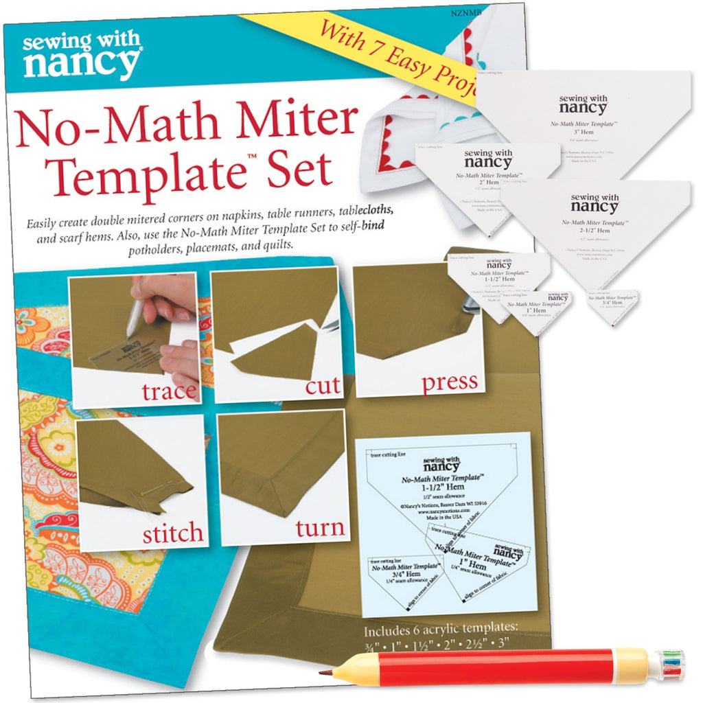 No-Math Miter Template Set with FREE 6-in-1 Fabric Marking Pencil and Receiving Blanket Pattern
