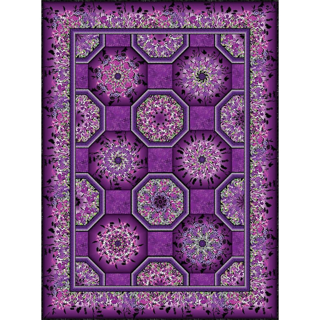 Purple One Fabric Kaleidoscope Quilt Top Kit