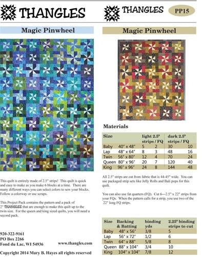 Magic Pinwheel Quilt Pattern and Thangles