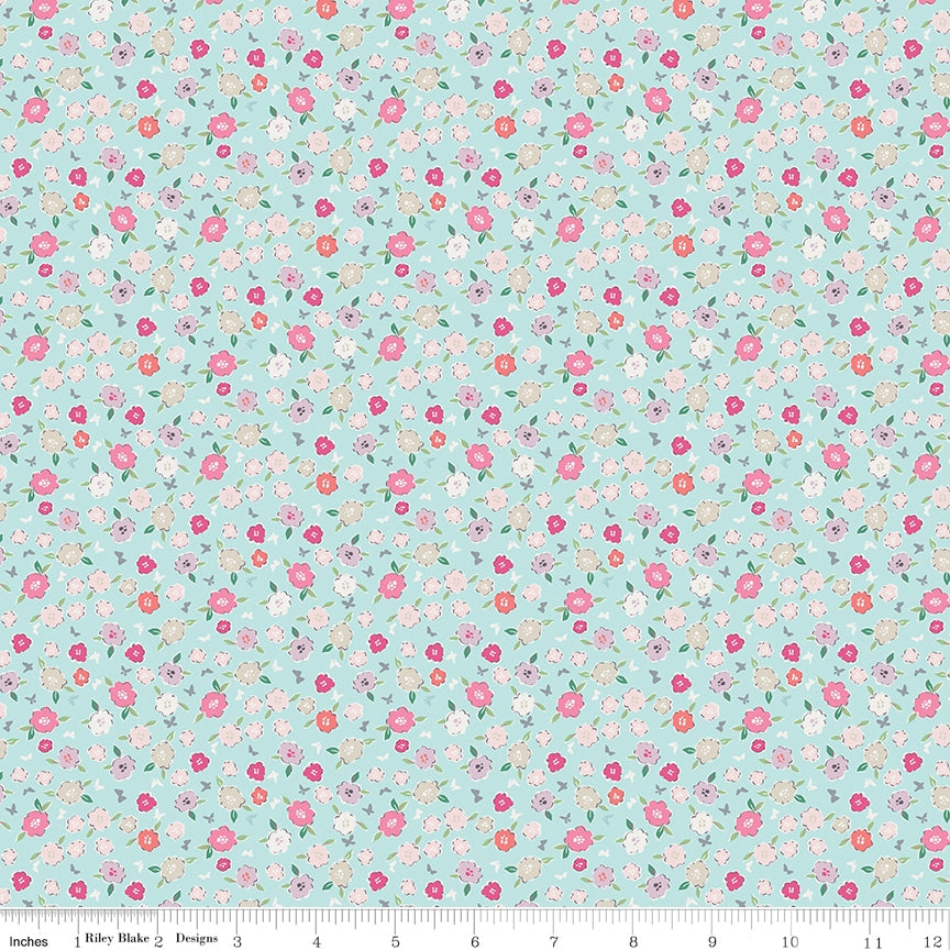 Moments Blossom Aqua Fabric