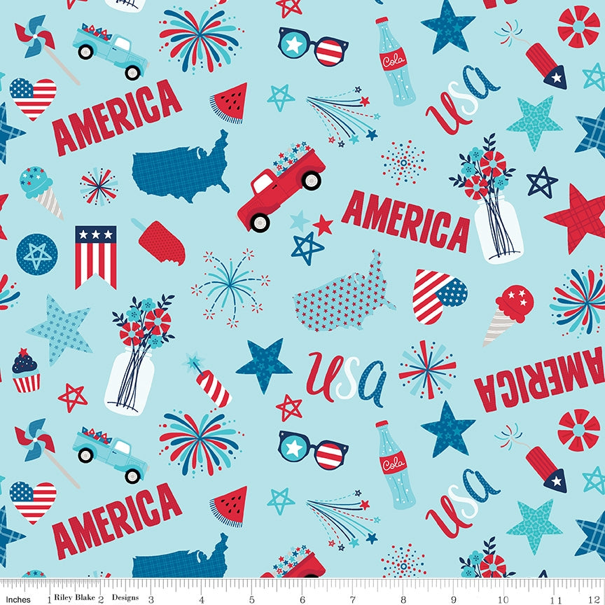 Fireworks And Freedom Main Aqua Fabric
