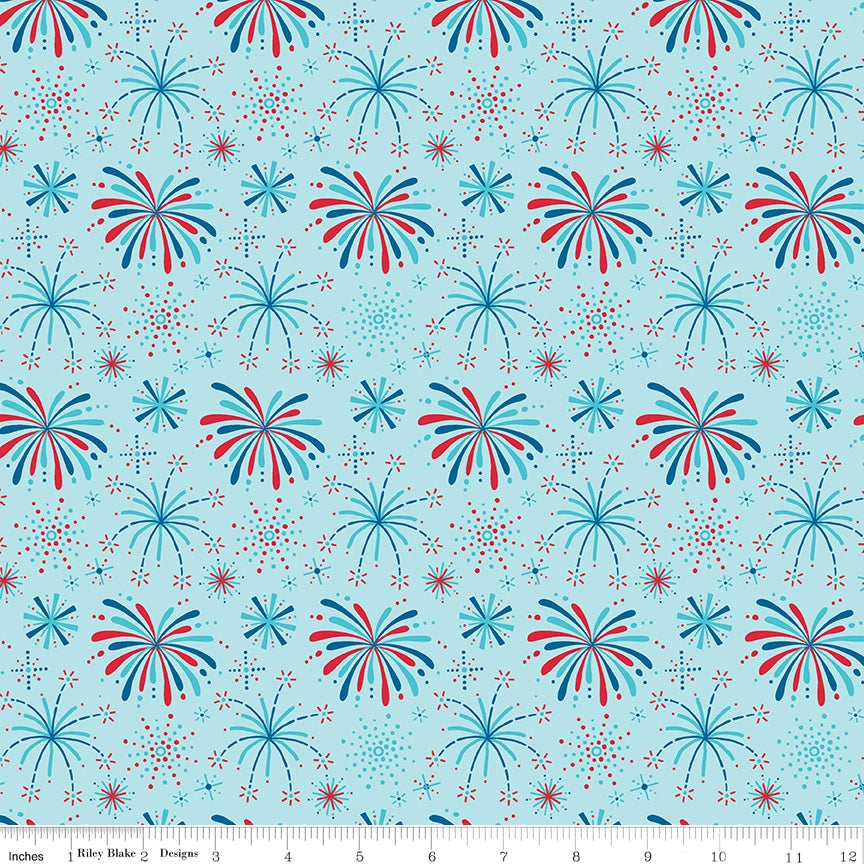 Fireworks And Freedom Show Aqua Fabric