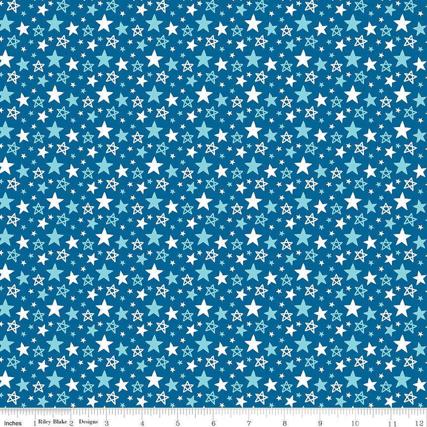 Fireworks And Freedom Multi Star Blue Fabric
