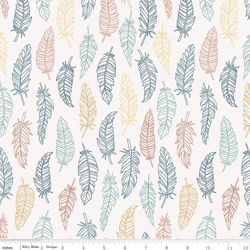 Riley Blake, Dream Weaver Feathers Cream Fabric