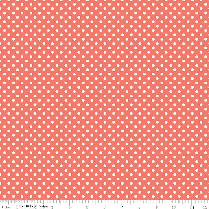 Charmed Dot Coral Fabric