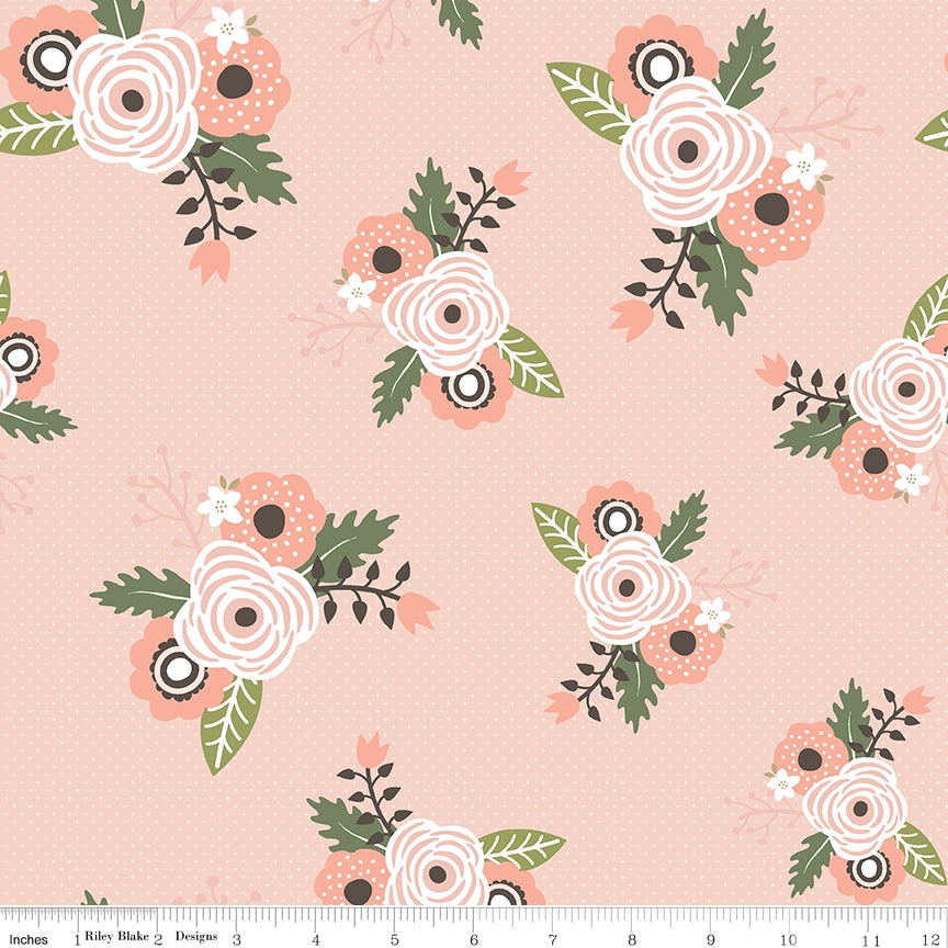 Modern Farmhouse Main Coral Fabric