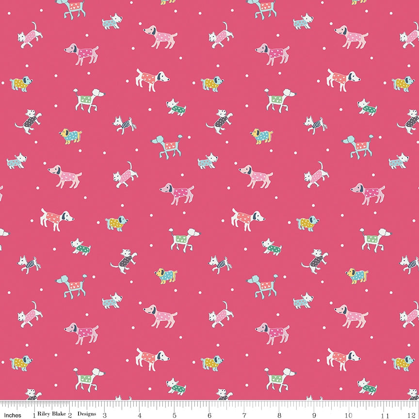 Moments Dog Walk Dark Pink Fabric