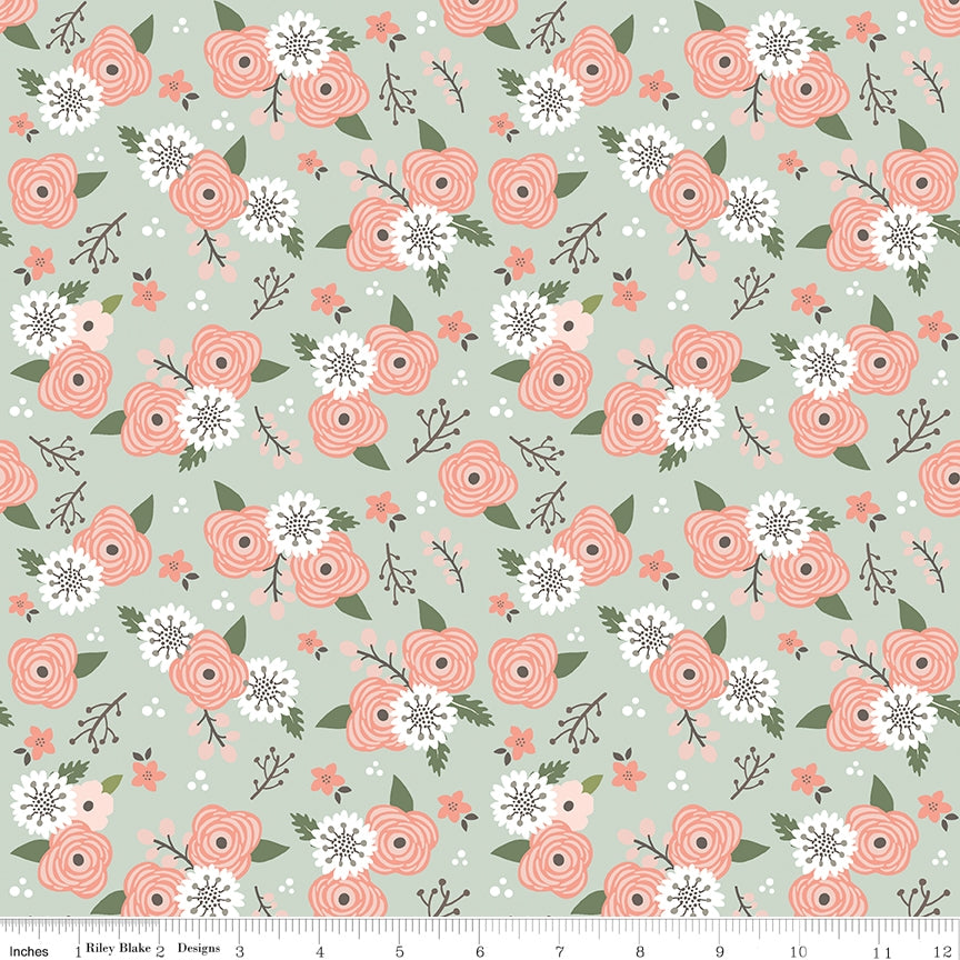 Modern Farmhouse Floral Sage Fabric