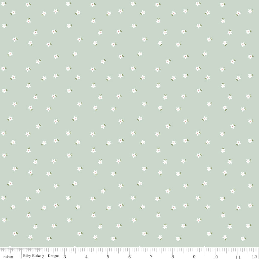 Modern Farmhouse Mini Floral Sage Fabric
