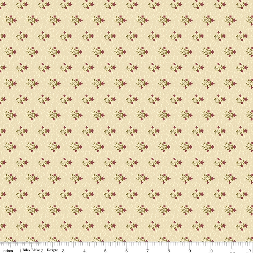 Riley Blake, Buttermilk Basics Flowers And Vines Tan Fabric