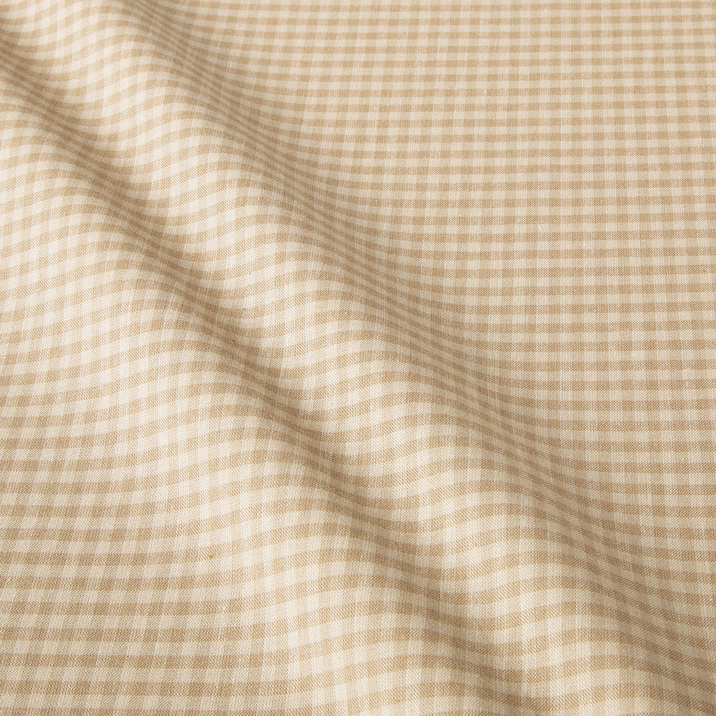 Organic Cotton Taupe Gingham Fabric