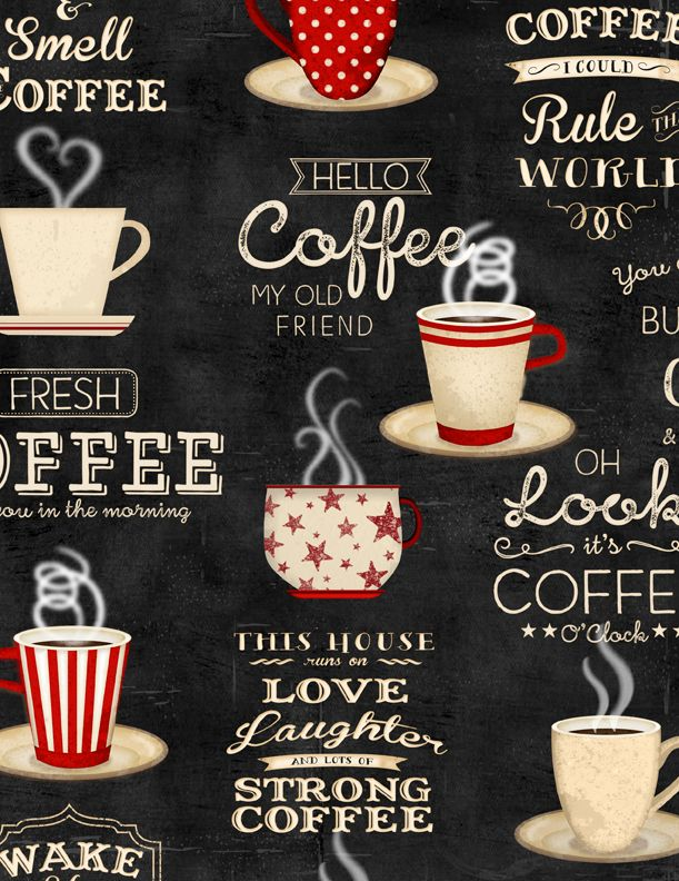 Coffee Time Coffee Fabric