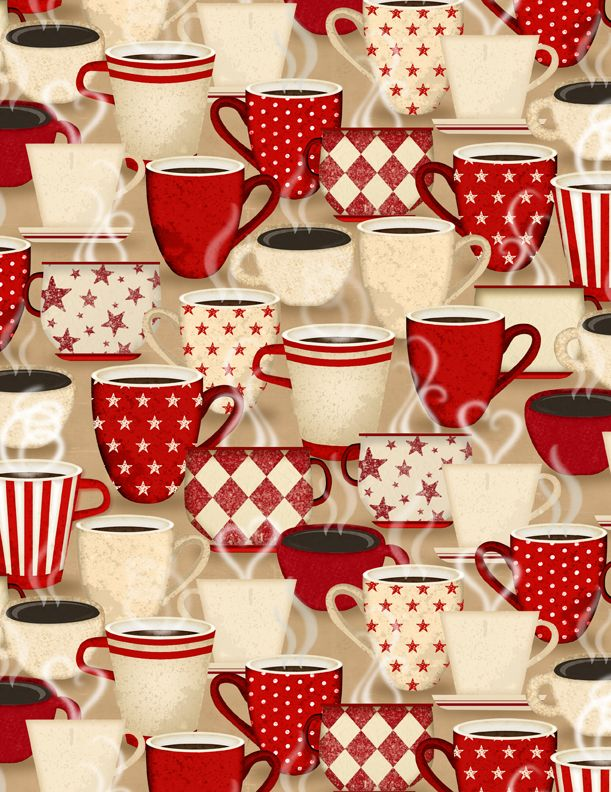 Coffee Time Packed Cups Fabric