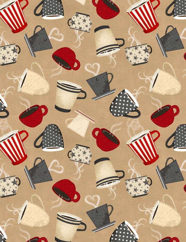 Coffee Time Tossed Cups Fabric