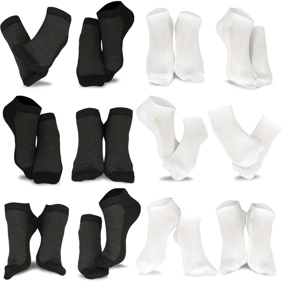 Men's Fashion No Show/Low cut Fun Socks 12 Pairs Packs (White-Black)
