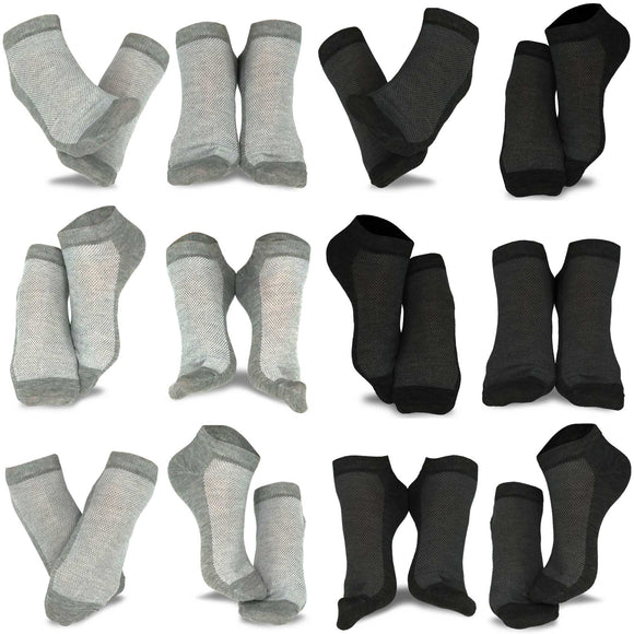 Men's Casual No Show/Low cut Fun Socks 12 Pair Pack (Black-Heather Grey)