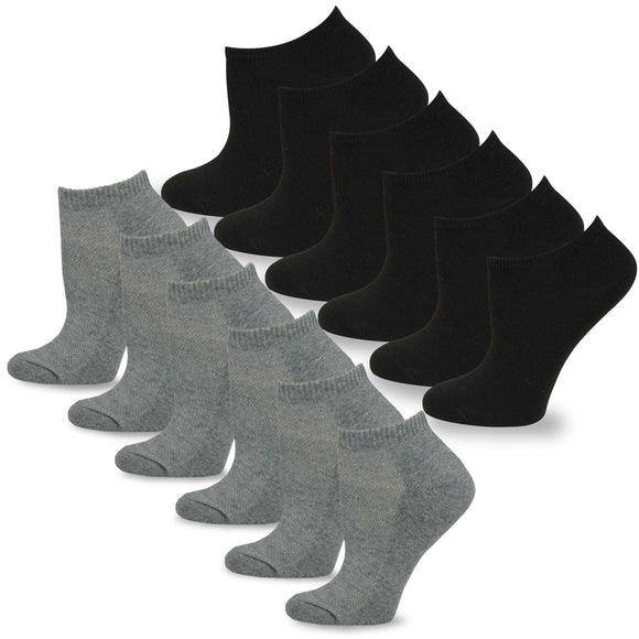 Junior's Casual No Show/Low cut Fun Socks 12 Pairs Packs (Black-Heather Grey)