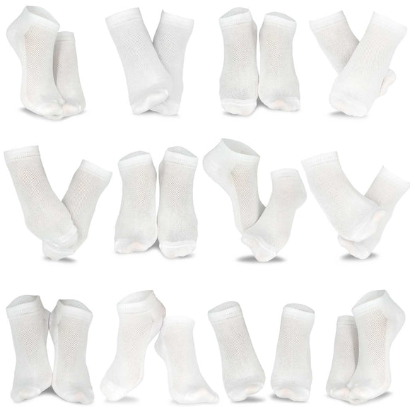 Men's Fashion No Show/Low cut Fun Socks 12 Pairs Packs (White)