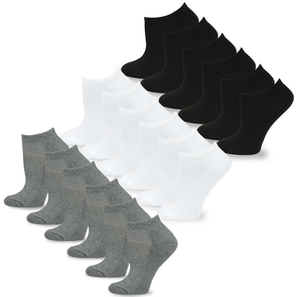 TeeHee Socks Men's Casual Polyester No Show Black, Grey, White 18-Pack (10051)