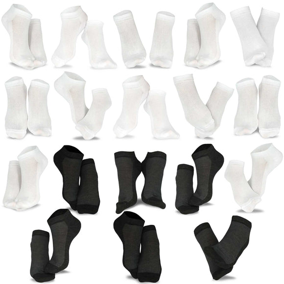 Women's Casual No Show Fun Socks 18 Pair Packs (White-Black)