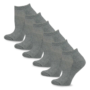 TeeHee Socks Women's Casual Polyester No Show Grey 6-Pack (10051)