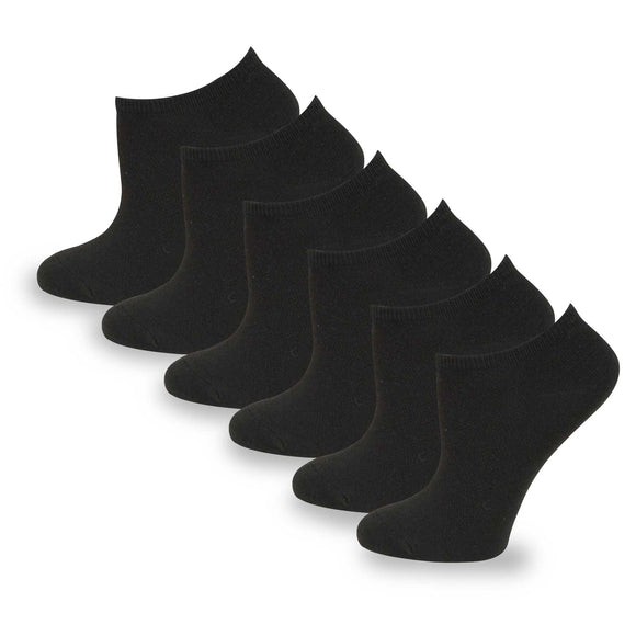 TeeHee Socks Women's Casual Polyester No Show Black 6-Pack (10051)