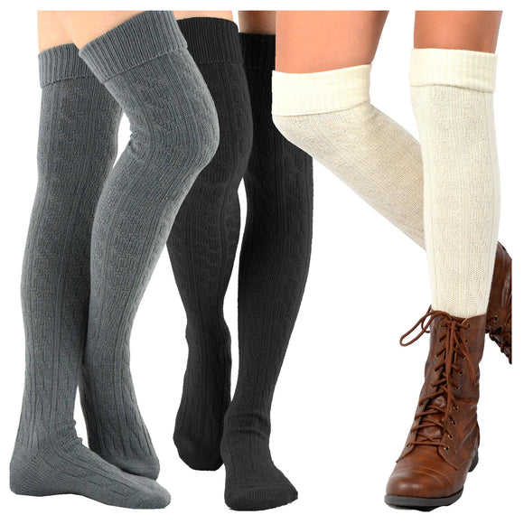 Fashion Over the Knee High Socks - 3 Pair Combo - TeeHee Socks