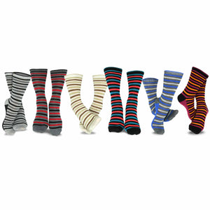 TeeHee Socks Women's Casual Polyester Crew Thin Stripe 6-Pack (11188)