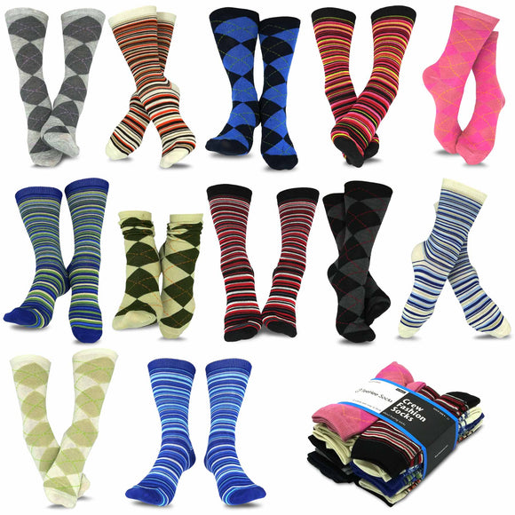 TeeHee Socks Women's Casual Polyester Crew Argyle Ministripe 12-Pack (1118998)