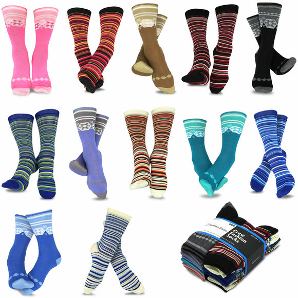 TeeHee Socks Women's Casual Polyester Crew Nordic/Ministripe 12-Pack (1119398)