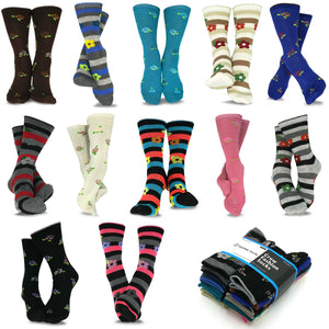 TeeHee Socks Women's Casual Polyester Crew Flower 12-Pack (1119697)