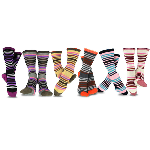TeeHee Socks Women's Casual Polyester Crew Multi Scallop 6-Pack (11632)